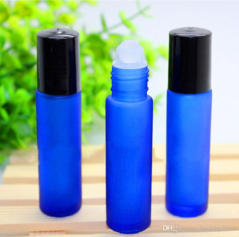 10ml frosted Cobalt blue roller ball glass bottle with black plastic cap High Quality perfume roll on glass bottle