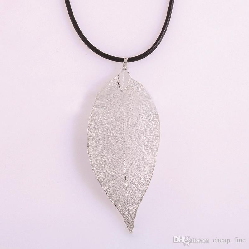 Natural Real Leaf Dipped Long Leaf Pendants Necklace for Women Gold Plated Handmade DIY Stray Leaves Necklaces