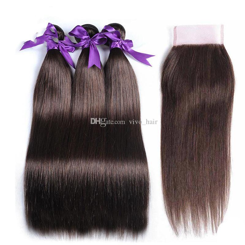 Medium Brown Indian Virgin Hair Bundles #4 Pure Color Light Brown Human Hair Extensions Chestnut Brown Straight Hair Weaves