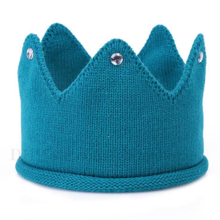 Neugeborenes Baby-Hut-Säuglings-gestrickte Kronen-Beanie-Hut scherzt feste häkeln Geburtstags-Partei-Kappen-Kind-warme weiche Hüte Kind-reizende Zusätze H726