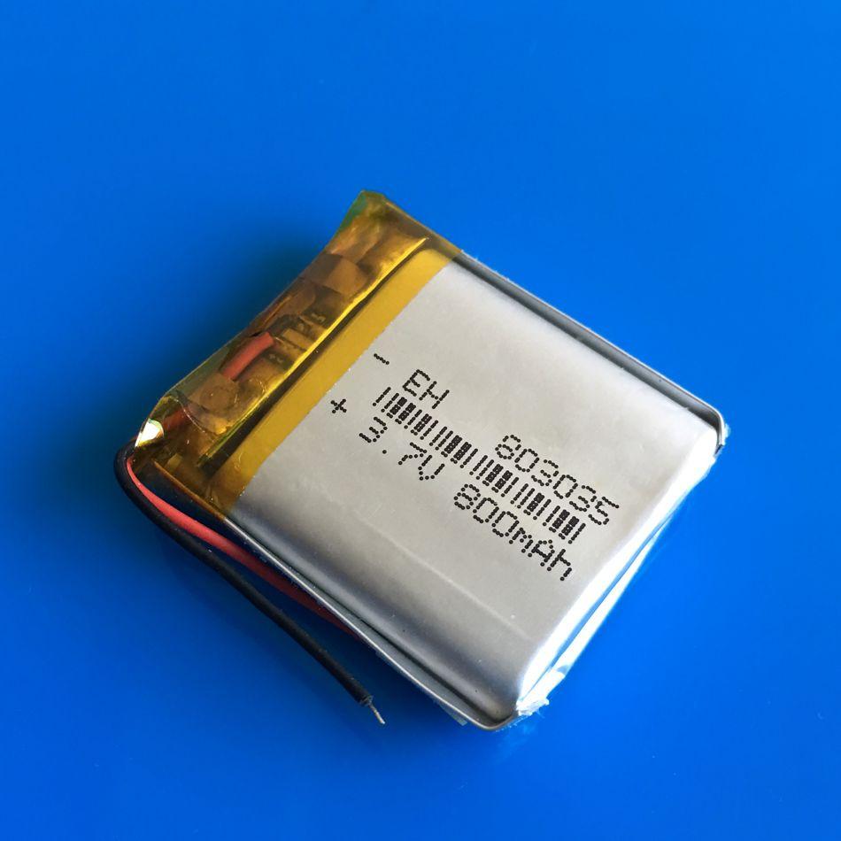 Modello 803035 3.7 V 800 mAh al litio Polimero Li-Po batteria ricaricabile Mp3 MP4 DVD PAD telefono cellulare GPS banca di potere Fotocamera E-book recoder