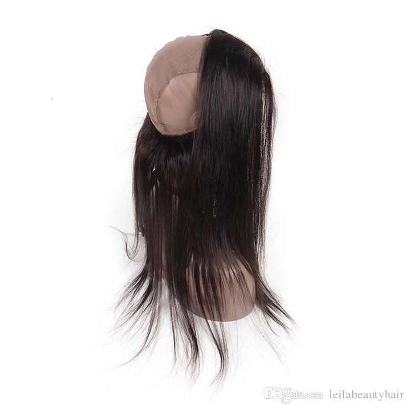 Malaysian Human Hair Natural Hairline Baby Hair Silky Straight 360 Full Head Lace Frontal Full Lace Band Straight Hair 70-100/g Top Closures