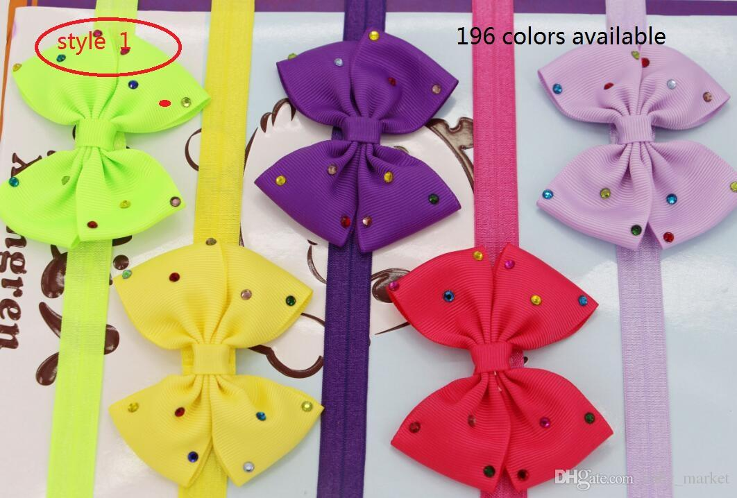 4 style available ! 3.5inch Baby Girl Infant Hairband Hair Bows Headbands Color rhinestone hair blow clip /
