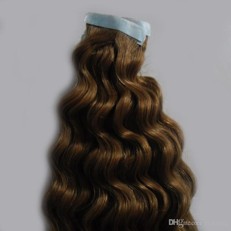 Light Brown Tape In Human Hair Extensions 100g 100% Virgin Remy Natural Human Hair deep wave Adhesive Tape In Human Hair