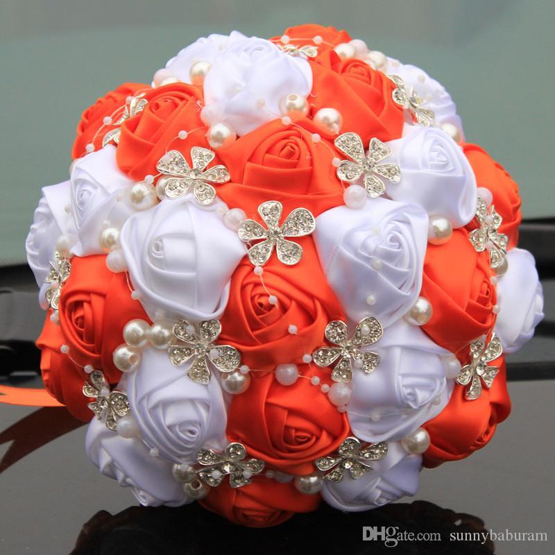 Grosshandel Orange Weiss Hochzeit Brautstrausse Hochzeit Liefert