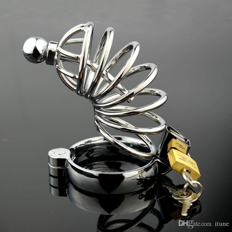 large size Chastity device Men's Cockcage Stainless Steel Cock cage and Ring with catheter Adult BDSM Sex Product Bondage Fetish FFCB3000