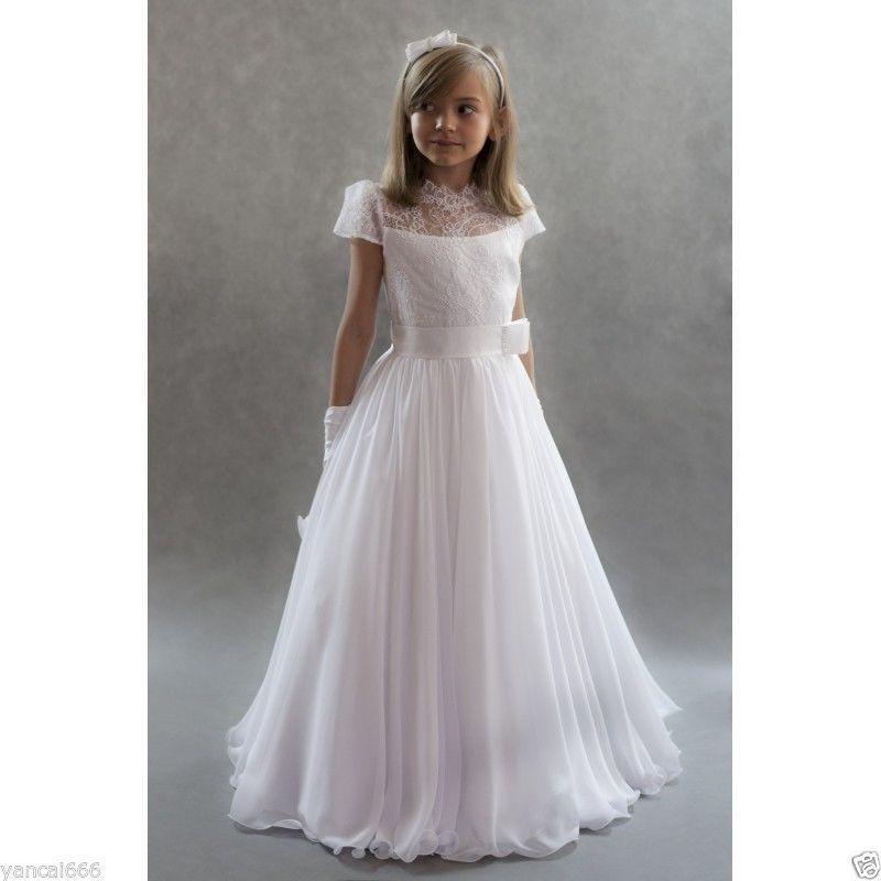 La mayoría de los vestidos lindos de la muchacha de flor linda de la manga para la boda La gasa blanca de la vendimia de la princesa Lace-Up los niños Comunión Dres