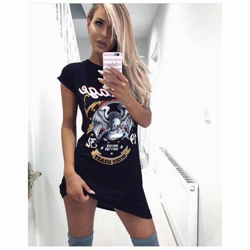2017 Summer Women Sexy Black Graffiti Eagle Print Sexy T Shirt ...