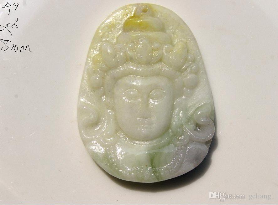 Scultura fatta a mano di giada bianca naturale, bodhisattva guanyin archaize. Collana con ciondolo talismano.