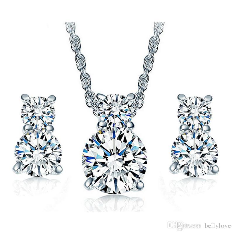 Oro bianco 18 carati placcato chiaro cubic zirconia CZ carino gattino gatto orecchini catena collana set di gioielli le donne ragazze
