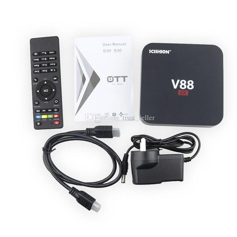 V88 Android TV Box RK3229 4K 1G 8G Quad Core WiFi HDMI Set-top Smart Boxes Support 3D Movies DHL