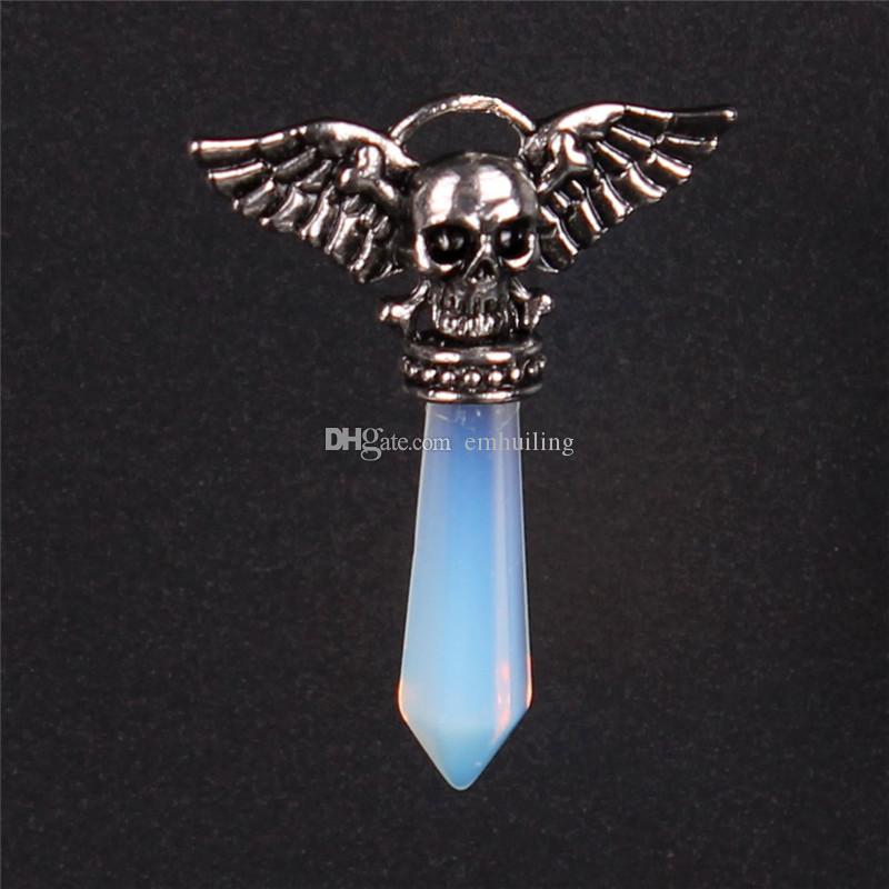 New Style 6 Kinds Alloy Skeleton Ghost Wings Charms Natural Lapis Lazuli Pink Crystal Amethyst Synthesized Opal Turquoise Green Pendulum