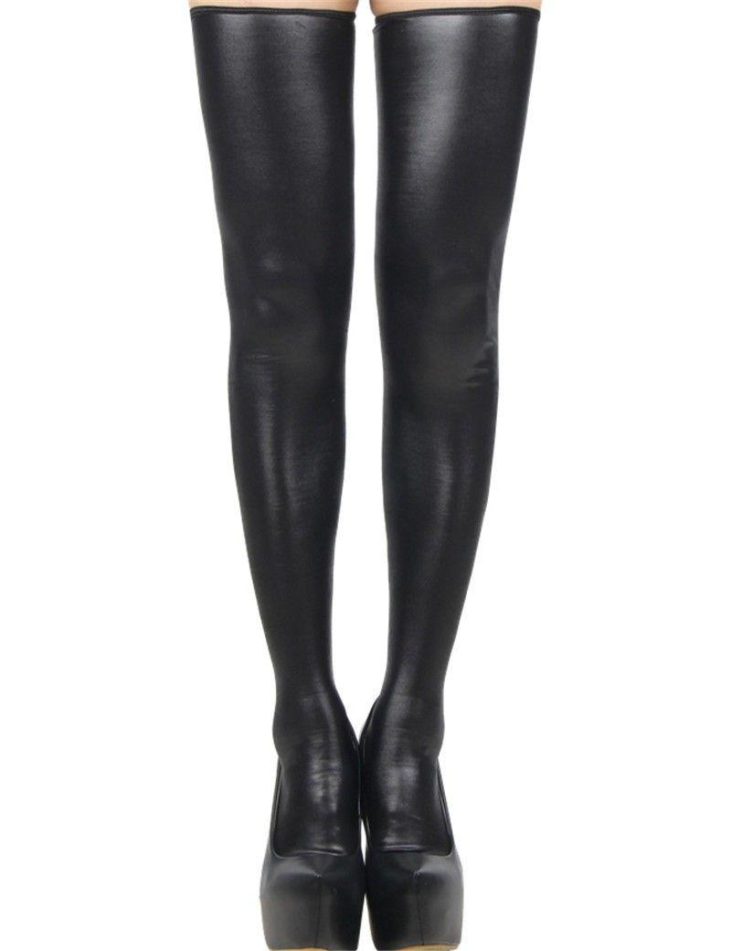 Hot Sexy schwarz Kunstleder Strümpfe Rückseite Reißverschluss Frauen Strumpf Trendy Schenkel Hohe Socken Neuheit Wäsche Verein-Tanz-Abnutzungs