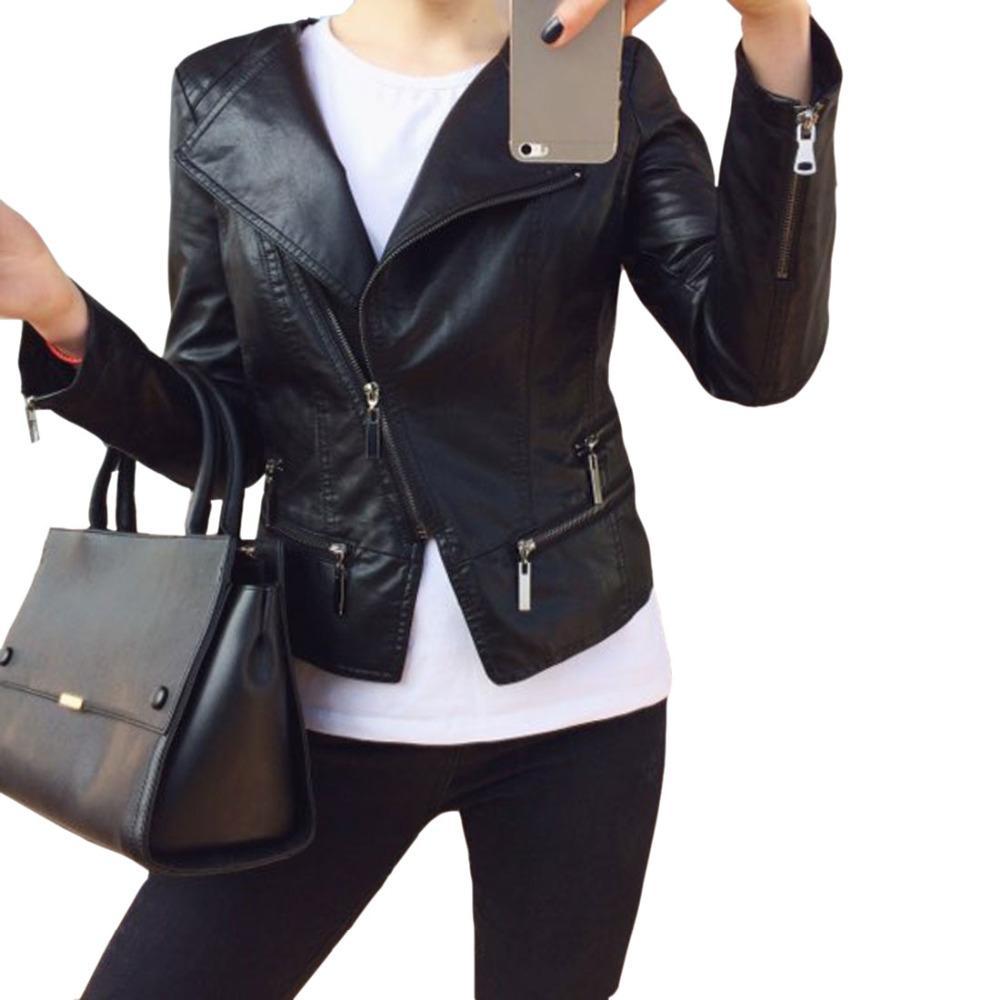3e775f41146 Wholesale- Faux Soft Leather Jackets HOT 2017 New Fashion Autumn ...