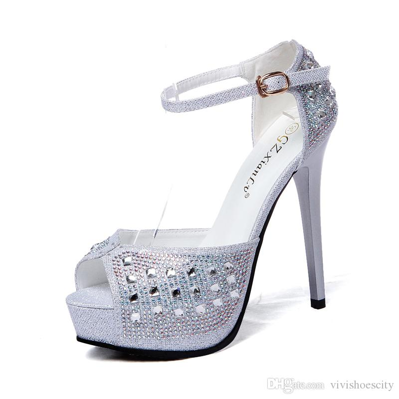 a4d5b4985c Glitter Silver Black Rhinestone Crystal Studded Ankle Strap Platform Shoes  Peep Toe Pumps Wedding Shoes 2017 Size 34 To 39 Mens Sandals Mens Trainers  From ...