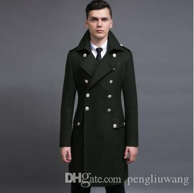 214425ee45db 2019 Vintage Casual Slim Long Wool Coat Men Jackets And Coats Mens Double  Breasted Wool Overcoats Winter Trench Jacket Army Green From Pengliuwang