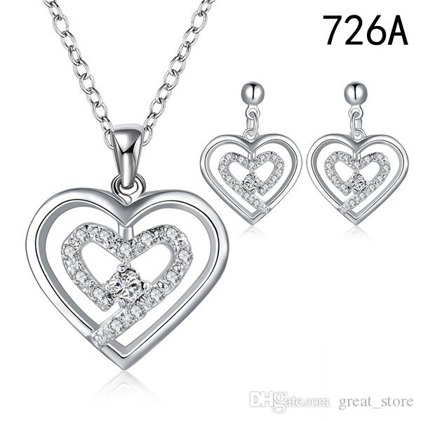 mix style same price women's gemstone sterling silver jewelry set,wedding 925 silver Necklace Earring jewelry set GTS28c