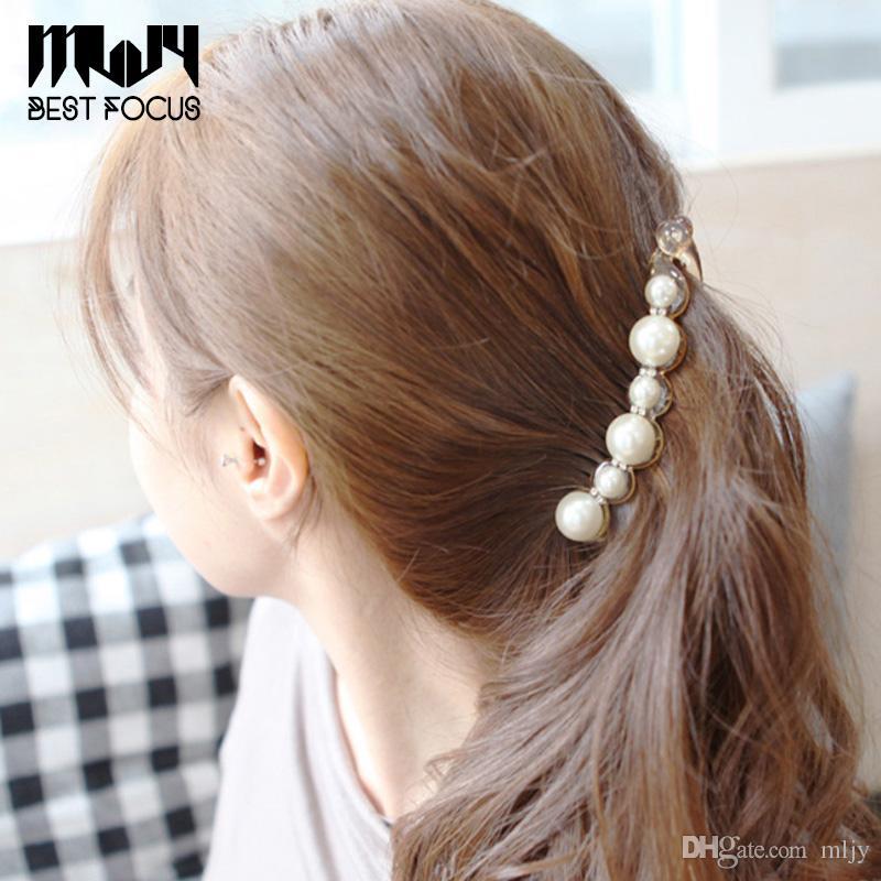 MLJY Pretty İnciler Saç Tokaları Uzun Tokalarım İnci Saç Klipler Kadınlar Kızlar için At Kuyruğu Muz Kelepçeleri Saç Aksesuarları 20 adet / grup