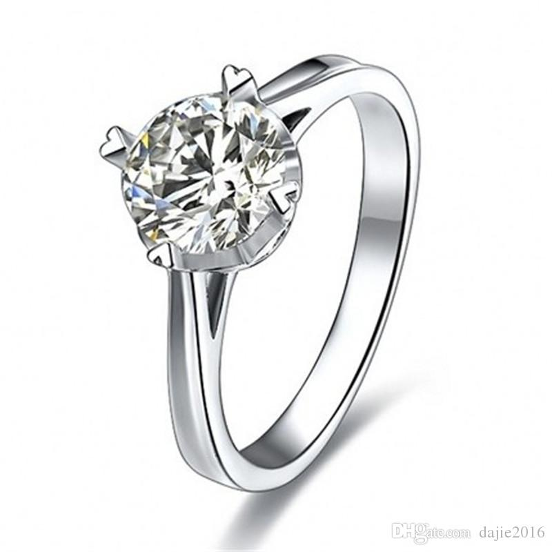 Real Pure White Gold Ring 18K RGP Stamp Rings Set 2 Ct CZ Diamond Wedding For Women RING SIZE 5