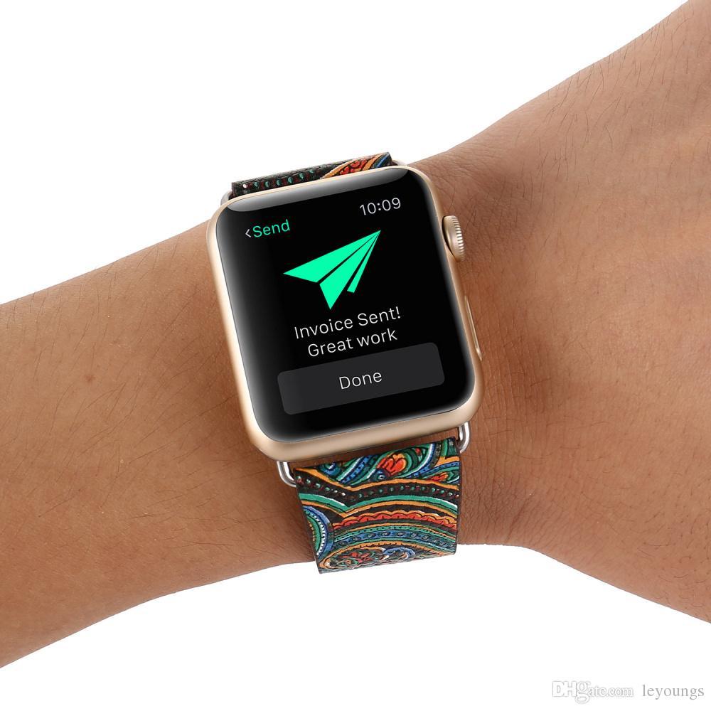 Blumen bemalt Stil Armband für Apple-Uhrenarmband 38mm 40mm 42mm 44mm Lederband für iwatch Series 1 2 3 4 5 Armband Gürtel