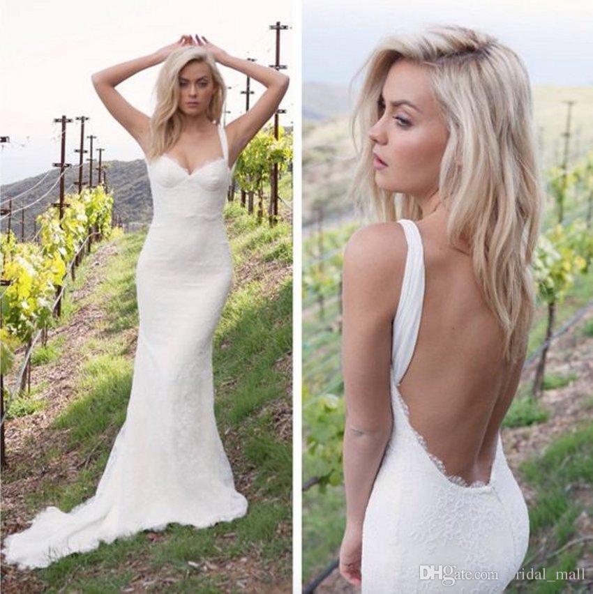 Trendy Spaghetti Straps Backless Beach Wedding Dress 2017 Cheap Lace ...