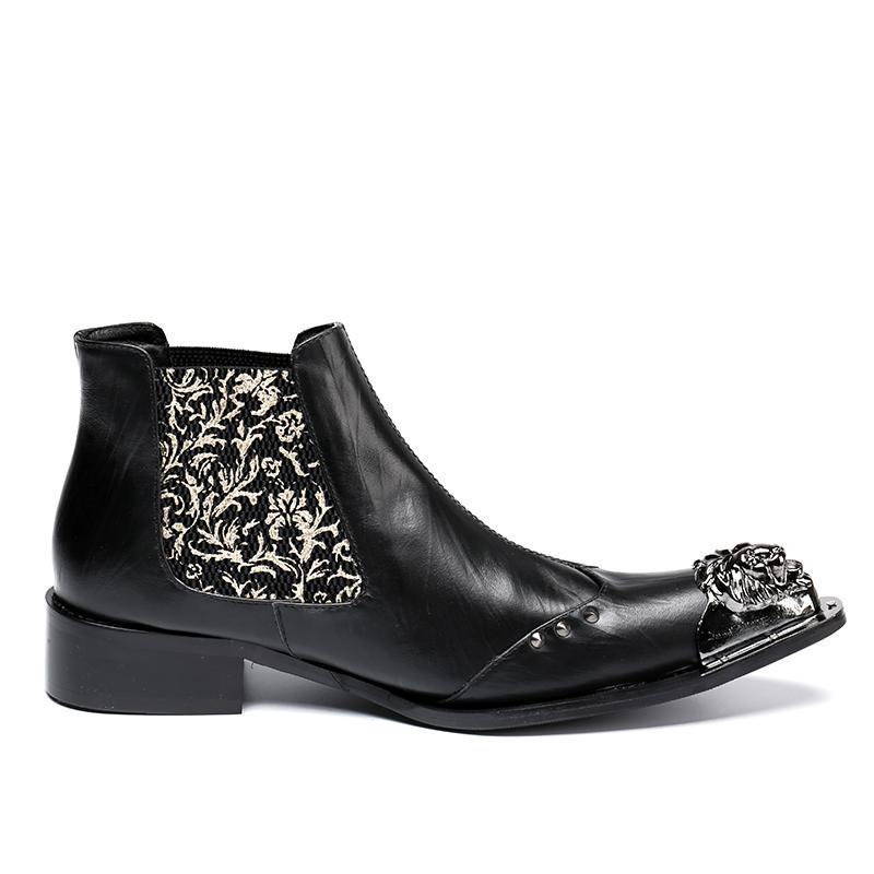 Stivaletti Martin Stivali Uomo Rosso / Nero Stivali stivaletti con punta a punta in ferro Rock Stile Western Stivaletti moda stile 38-46