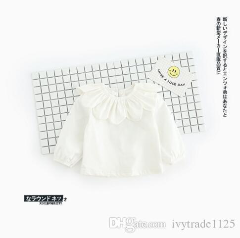 2017 INS NEW ARRIVAL Girls Kids shirt Long Sleeve sunflower pet pan collar T shirt girls causal 100% cotton baby girl blouse Free Ship