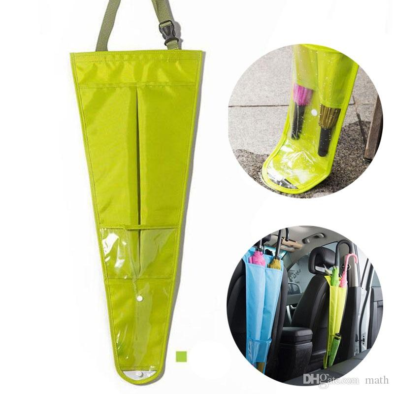 Oxford Auto Car Seat Back Umbrella Storage Bag Holder Cover Candy Color Hanging Bags Organizer For Paraguas Parapluie Organiser With Tray