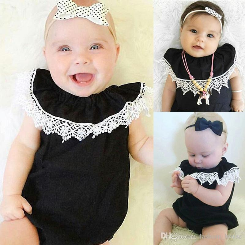 INS Baby Strampler Mädchen Classic schwarz Strampler Neugeborene schön detaillierte Spitzenbesatz Kragen elastische Onesies Bodysuit Kids Clothe A08