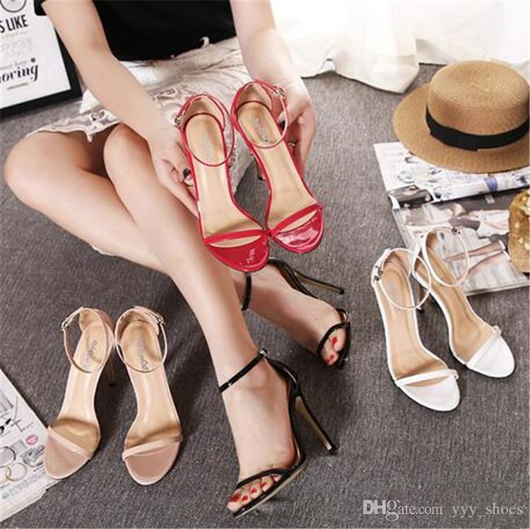 65adb5dea0e Hottest Sale Wedding Prom Party Womens Shoes Open Toes Shoes Summer Sandals  High Heels Shoe Buckle Strap Heel 11 cm