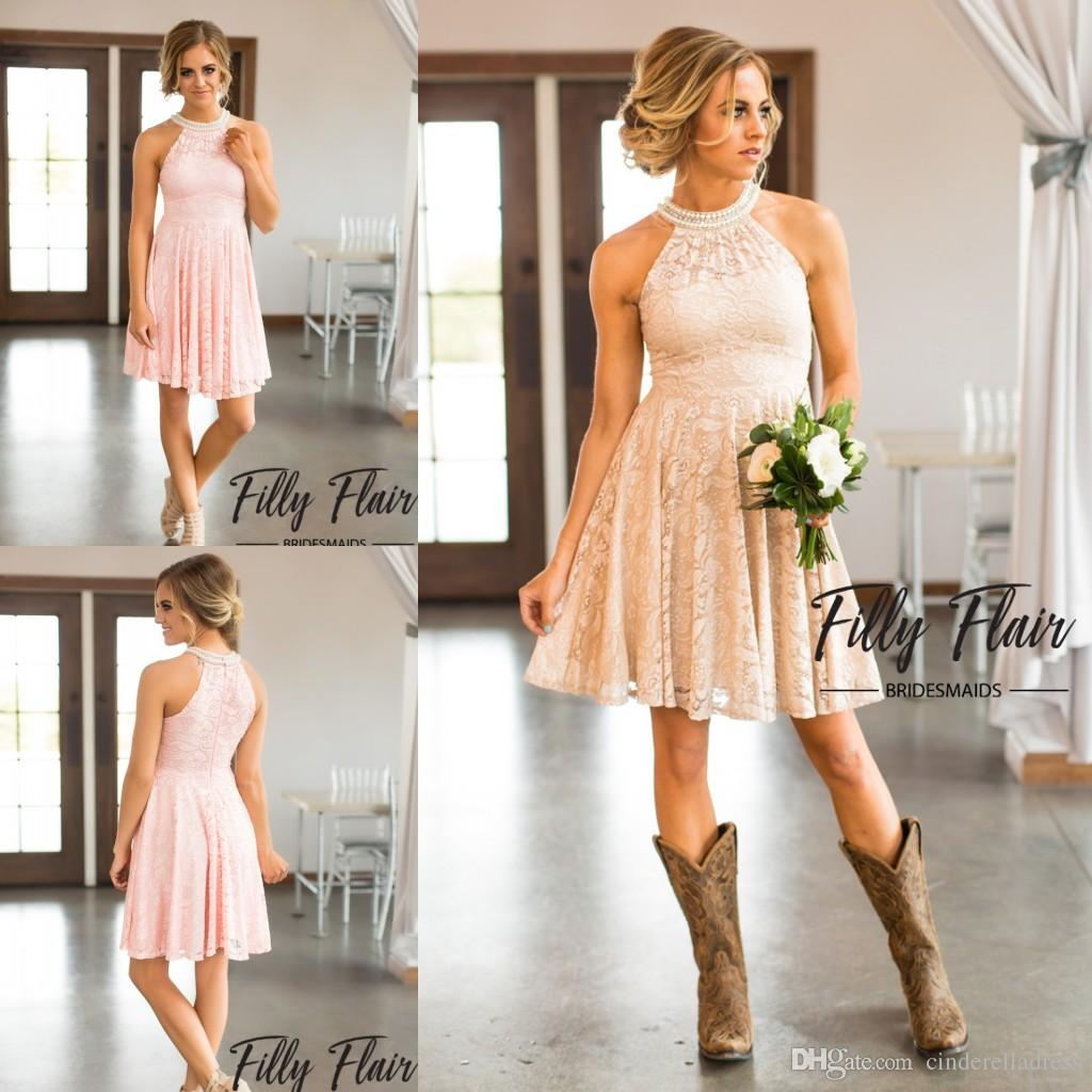 2017 nude blush keyhole neck a line full lace country bridesmaid 2017 nude blush keyhole neck a line full lace country bridesmaid dresses knee length crystal homecoming gowns beach cheap party dress bridesmaid dresses ombrellifo Choice Image