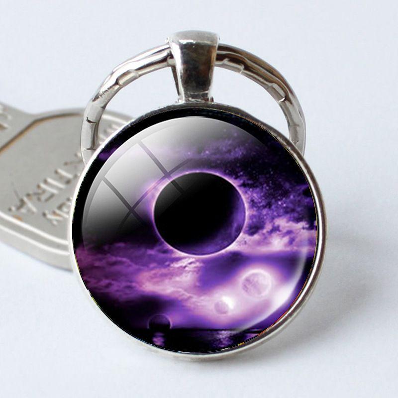High quality Earth full moon gem creative glass key chain pendant KR394 Keychains a