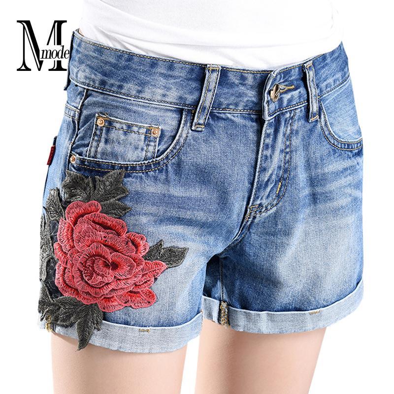 a0ee1667484 Compre Atacado Flores Denim Shorts Com Bordado Cintura Alta Jean Shorts  Mulheres Verão 2017 Moda Vintage Casual Floral Shorts Jeans Womens De  Honhui