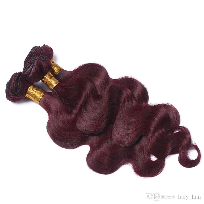 Wine Red Pre Plucked 360 Фронтальных Полных Кружева С 3 Пучками Объемная Волна # 99J Бразильские Бургундские Плетения Человеческих Волос С 360 Закрытия Кружева