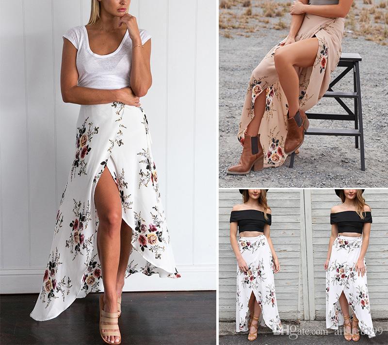 Elegante caliente de lujo estampado de flores de la falda larga de las mujeres de moda de la pluma de la cintura elástico ultra larga Big Bottom lleno de la gasa de la falda