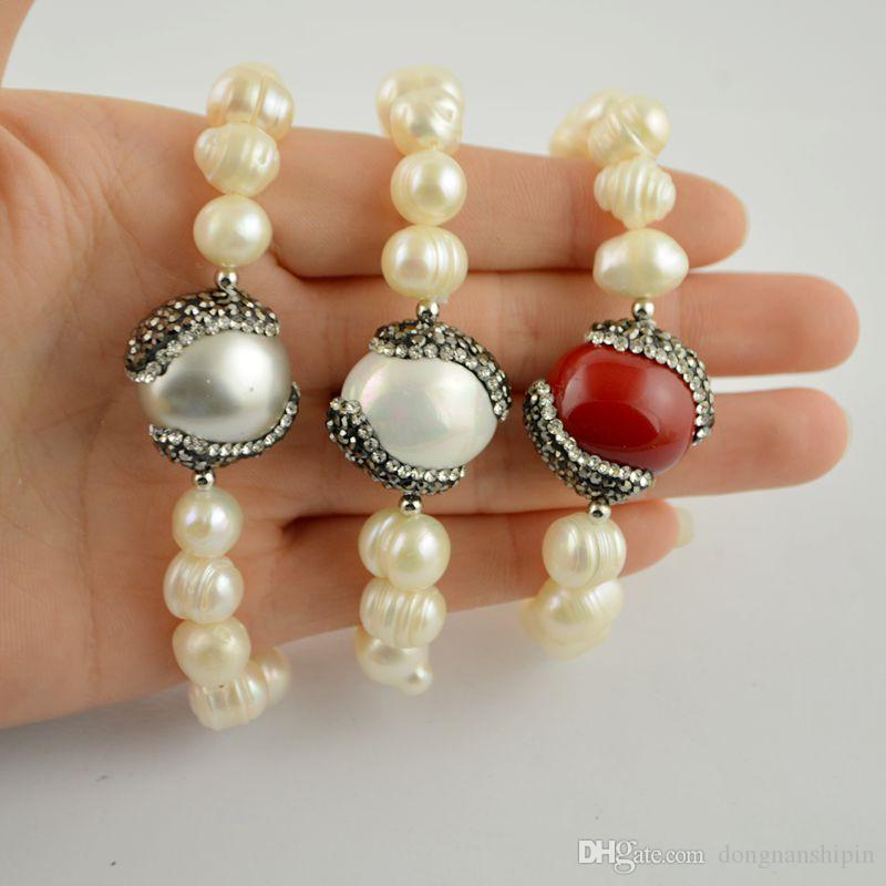 Fashion Mixed Color Pave Rhinestone Crystal Shell Charms Bracelet , Pearl Bracelets Jewelry Finding