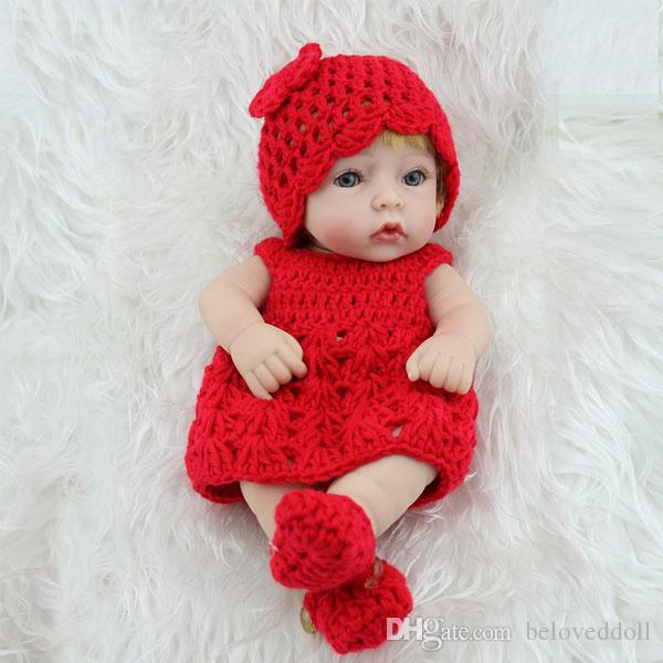 NPKDOLL 11 Inch reborn baby Girls doll Full Silicone Vinyl Body Girl Doll Mini Dolls gift toys for children