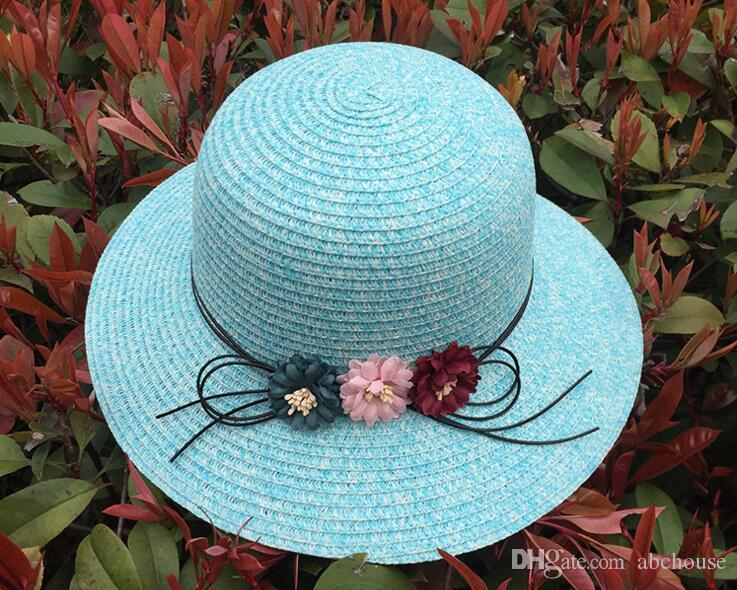 2017 New Women Straw Hat Fashion Sunshade Beach Hats Bowknot Sun Hat Caps Ladies Wide Brim Hats Straw Sun Cap