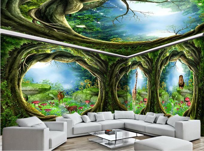 3d tavan duvar resimleri duvar kağıdı özelleştirmek fotoğraf 3d tavan Rüya hayvan dünya orman evi için dokunmamış duvar kağıdı tavanlar