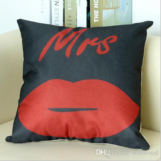 Home Pillowcase Print Cushion Decor Mustache Beard Red Lips Mr Mrs English Letters Home Cover Car Sofa Square Pillow Case Throw Wedding Gift