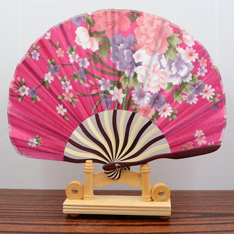Lady Japanese Styles Silk Folding Fan For Dancing Home Office Wall ...