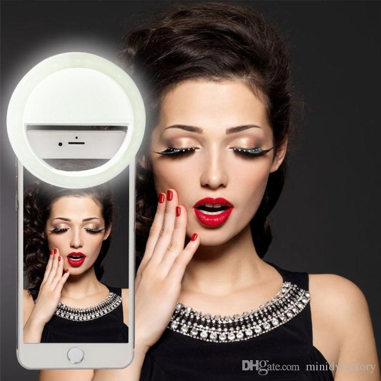 25pcs Rechargeable LED Selfie Ring Light Circle Spotlight Flash Round Fill in Light Enhancing Photography for Mobile Phone Tablets