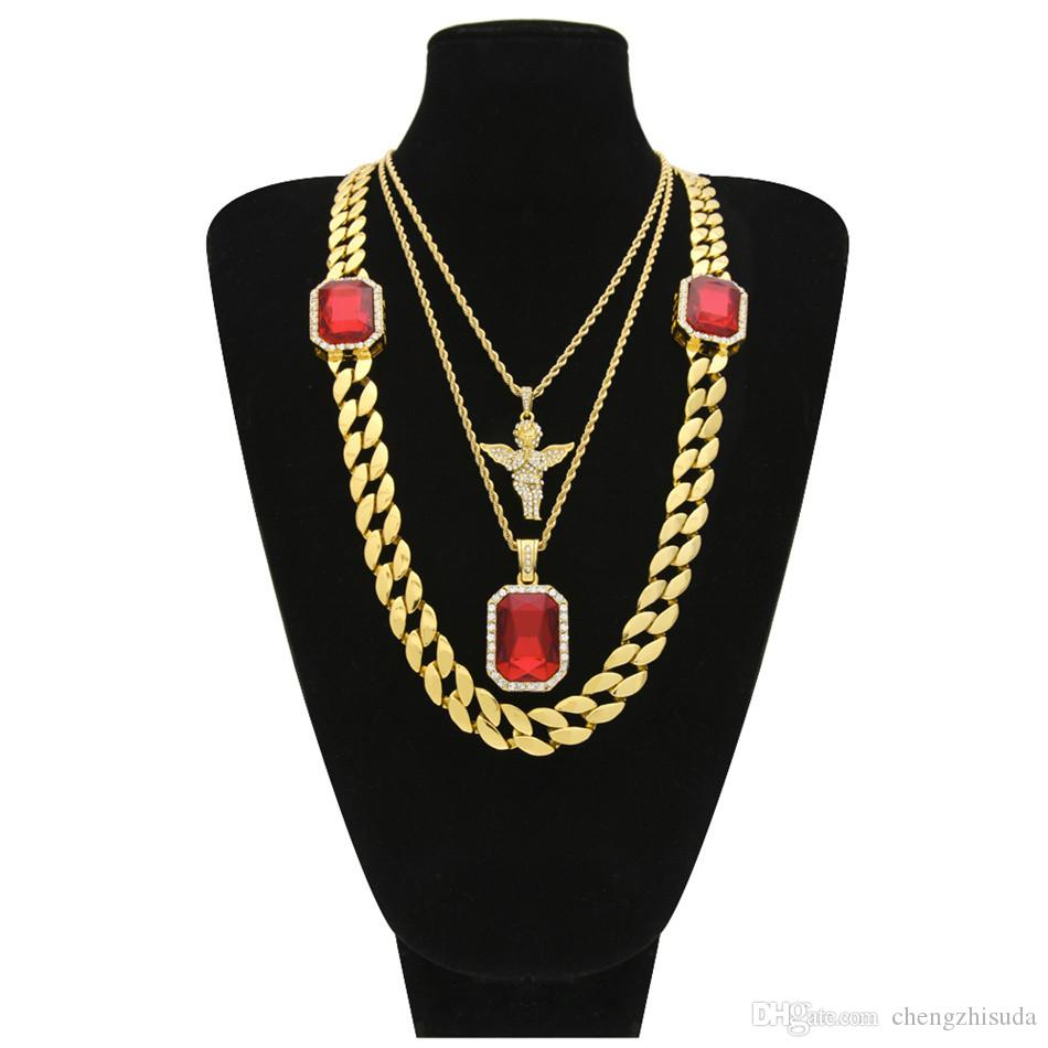 86d36febd Wholesale Men'S Hip Hop Jewelry Set 30 2 Gem Cuban Chain Iced Out  Rhinestone Angel With Square Red Crystal 3 Layer Pendant Necklace Set Pearl  Necklace ...