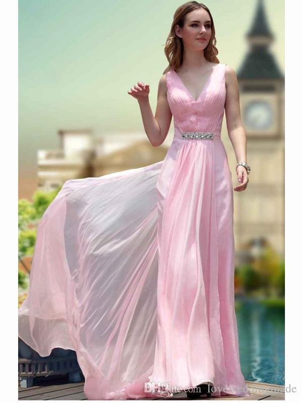 Perfect Vestido De Festa 2017 Junior Pink Chiffon Long Prom Dresses Formal Party Dress Floor Length Girls Graduation Gowns