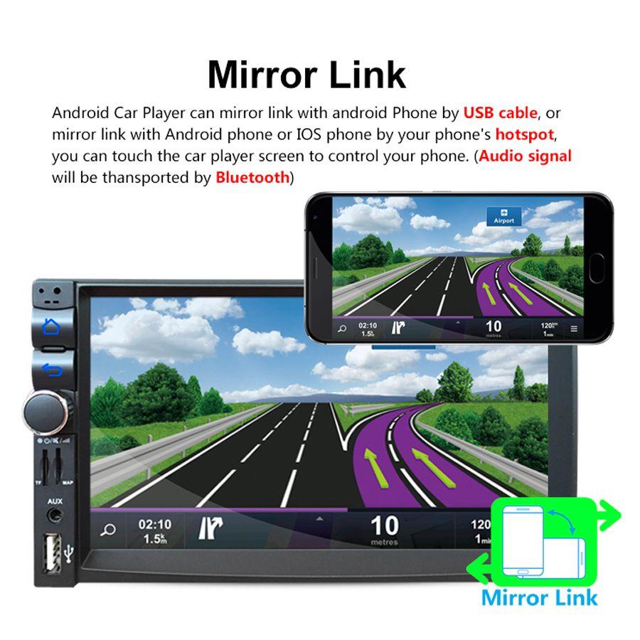 7 Zoll Android 2Din Bluetooth Autoradio Stereo Player Digital Touchscreen GPS Navigation + Nachtsicht Rückfahrkamera CMO_21P