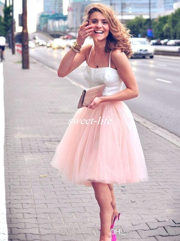Cheap Short Party Dresses Spaghetti Straps A-Line White Top Pink Tulle Summer Two Piece Bridesmaid Cocktail Dress Gowns for Prom Zipper 2017