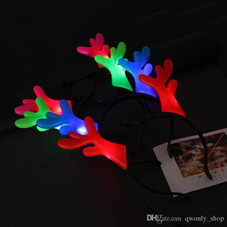 Mulheres Meninas LED Light Up Piscando Partido Headband Diabo Chifres Arco Faixa de Cabelo Piscando Led Rave Hairband Para Fontes Do Partido Do Dia Das Bruxas Xmas