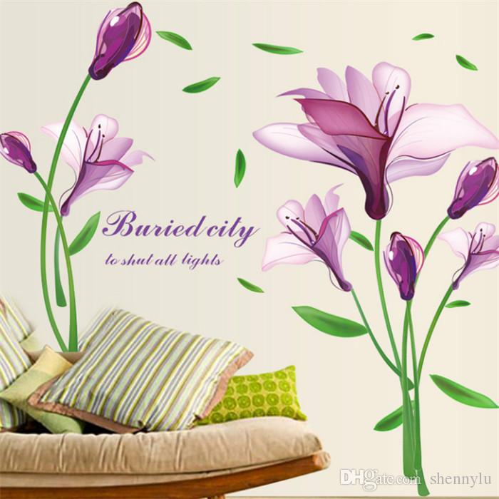 purple tulips flowers wall stickers for living room diy 3d wall