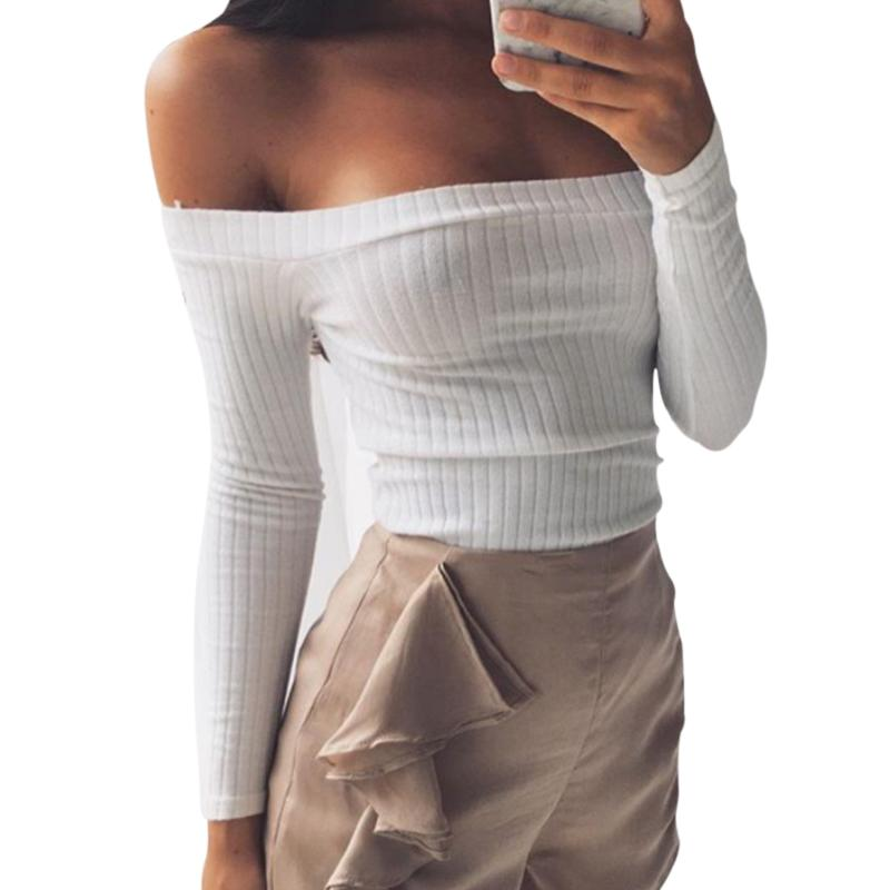 18a2414b433cf BONJEAN Kyliejenner Celebrity Short White Sexy T Shirt Women Tops Tees 2017  New Arrival Long Sleeve Strapless Elastic Crop Top Funny T Shirts Prints  Funky T ...
