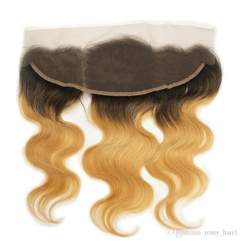 Strawberry Blonde Ombre cabello humano peruano teje con cuerpo frontal Wave 1B / 27 Honey Blonde Ombre 3 paquetes con encaje cierre frontal 13x4